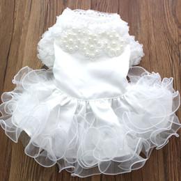 Argentina Nueva Princesa PearlsFungus Lace Dog Pet Wedding Dress Tutu Cat Puppy Falda Vestidos Outfit Dinner Party 5 Tamaños 3 colores Suministro