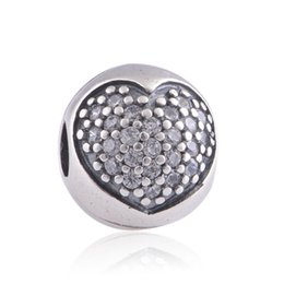Wholesale Diy Charm Bead Stopper - New Sterling Silver Stopper Beads Pave Crystal Love Heart Charm DIY Jewelry Fit European Charm Bracelet Silver Fashion