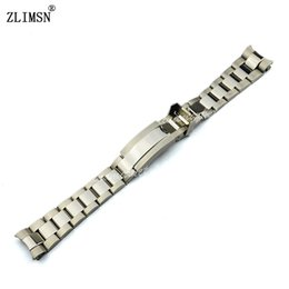 Нержавеющая полоса часового механизма из нержавеющей стали онлайн-ZLIMSN Watch Band Solid Stainless Steel Silver Watchbands Bracelet Bands Polished + Brushed Finish Substitute Men Strap 20mm