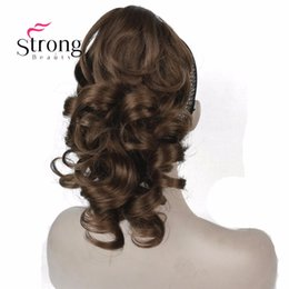 "2020 наращивание волос StrongBeauty 12"" Curly Synthetic Clip In Claw Ponytail Hair Extension Synthetic Hairpiece 125g with a jaw/claw clip дешево наращивание волос"