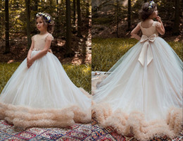 Wholesale Charming Girl Picture - Charming Designer Ball Gown Flower Girls Dress 2018 Long Jewel Neck With Short Sleeves Ruffles Country Style Wedding Dress for Kids Girls