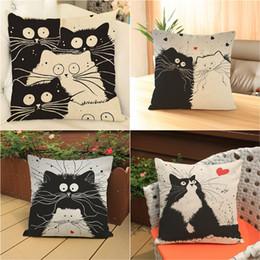 Argentina 45 * 45 cm pintado a mano de dibujos animados gato mascota y mariposa de algodón de lino funda de cojín cuadrado fundas de almohada sofá tiro fundas de almohada algodón de lino Suministro