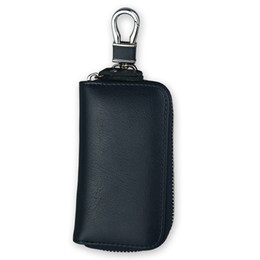 Wholesale Key Chain Car Remote - Genuine Leather Zipper Car Key Chain Bags Portable Hook Remote Wallet Bags 7 Color W066