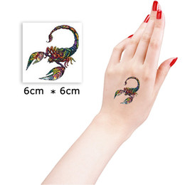 Wholesale Eye Makeup For Men - Wholesale- 6*6cm Colorful Scorpion Beautiful Cute Sexy Body Art Beauty Makeup Cool Waterproof Temporary Tattoo Stickers for Girls and Man