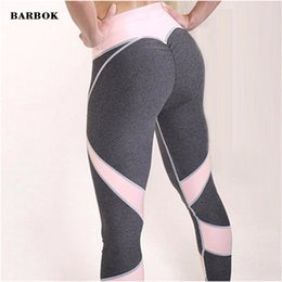 Wholesale Black Pantyhose Legs - BARBOK women Running Pants Push Up Heart Booty Naughty fitness Legging Pants Contrast Color Outdoor Sport Gym Pantyhose trousers