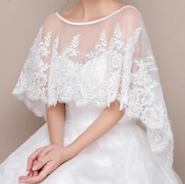 Wholesale Tulle Bridal Shrug - Lace Appliques Bolero Wedding Cape Tulle Women Shrug Bridal Shawl Wedding Accessories bride capes lace applique