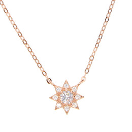 5154a274d51 cz sun pendant necklace 100% 925 sterlilng silver material simple mini  pendant lovely cute girl women collarbone necklaces jewelry