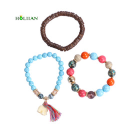 Wholesale Marble Beads Wholesale - whole sale2017 boho marble marble green beads bracelet&bangles set ethnic tirbal maxi bohemia tassel natural wood beaded circels jewelry