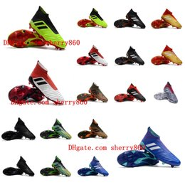 Wholesale Men Black High Top Shoes - 2018 top quality mens soccer cleats Predator 18.1 FG soccer shoes Predator 18 high ankle football boots outdoor scarpe da calcio Blackout