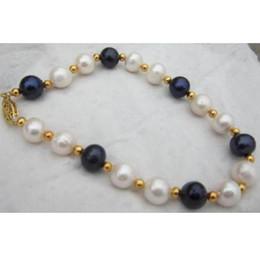 Wholesale strands black pearls 9mm - beautiful 8-9MM south sea white black pearl bracelet 7.5-8