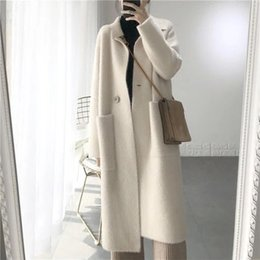 Качество шерсти кашемира онлайн-2018 Winter Woman High Quality Solid Wool Coat Women Slim Woolen Long Cashmere Coats Elegant Pockets One Button Blend Jackets
