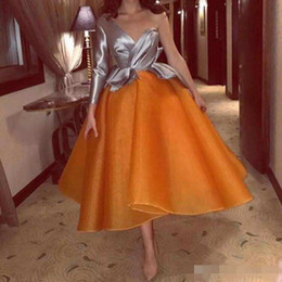 Vestidos laranja dubai on-line-2019 nova cinza e orange vestidos de coquetel sexy de um ombro mangas compridas vestidos de noite saudita árabe dubai formal party dress custom made