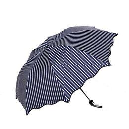 Wholesale Vinyl Coat Black - Vinyl coated stripe shade sun   umbrella - Sun protection UV manual folding umbrella Dark - blue   black color