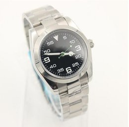 Wholesale folding water glass - luxury watch mens watches Stainless steel strap AIR KING Black white dial green pointer automatic movment Sapphire glass mirror men's watch