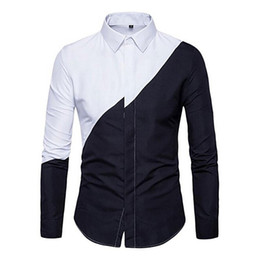 Wholesale Black Color Block Dress - New Fashion Men's Business Fit Casual Color Block Wild Dress Shirts