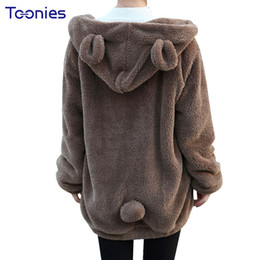 Wholesale Black Hoodie Ears - Women Winter Plush Sweatshirt Oversized Hoodie Thick Casual Loose Cute Hooded With Bear Ears Pockets Zip-up Autumn Girl Hoodies