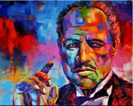 2019 abstrakte sonnenaufgang gemälde Der Pate Porträt Handgemalte HD Druck Abstyract Graffiti Pop Art Ölgemälde Wandkunstausgangsdekor Auf Hohe Qualität Leinwand p189