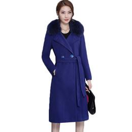 Grande taille M-4XL Haute qualité Manteau D'hiver Femmes 2018 Mode Mince Grand Col De Fourrure Double-breasted Womens Wool Blended Hot Sale ? partir de fabricateur