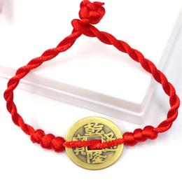 Suerte feng shui online-OPPOHERE Hombres Mujeres Feng Shui Red String Lucky Coin Charm Pulsera de buena suerte riqueza