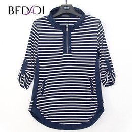 Wholesale Stand Up Collar Shirts - Wholesale-BFDADI 2017 New Plus size Autumn Long T-Shirts Women Casual Stripe Loose Stand-up collar rolled edge design Tees Tops 4440