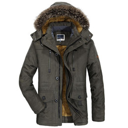 Мужская куртка бархатного воротника xl онлайн-Winter Jacket Men Casual Fur Collar Thicken Coat Plus Velvet Windbreaker Parkas Size 5XL 6XL Mens Winter Outwear Long Overcoat