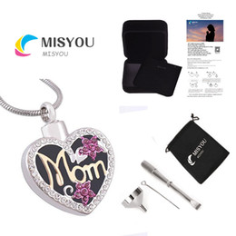 Wholesale Mark Chain - Funeral cremation urns pendant jewelry diamond heart MOM can open stainless steel mark family pet necklace