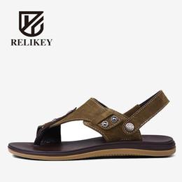Полные кожаные ботинки онлайн-RELIKEY  Men Sandals Handmade Full Grain Leather High Quality Male Shoes Summer Shoes for Men