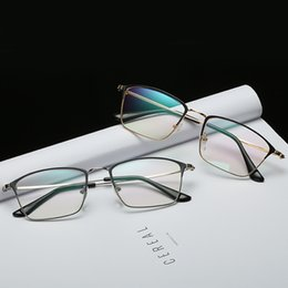 b70cf3114c New spectacles metal frame glasses square men s flat mirror can be equipped  with myopic eyeglass frame business glass