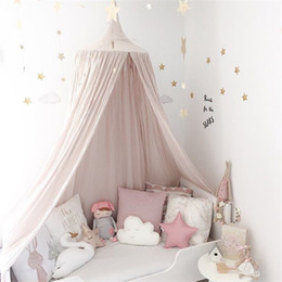 Wholesale baby crib canopy netting - lovely baby Mosquito Net photography props baby room decoration home bed canopy curtain Round Crib Netting tent infant gift