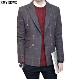 Wholesale Double Breasted Korean Suit - 2017 autumn winter new double-breasted jacket men tide leisure lattice suits male young Blazer Korean version of the suit coats