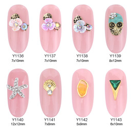 Wholesale Ongles Design - 50pcs 3d alloy antique nail flower shell starfish jewelry ongles nail art decorations new designs supplies Y1136~1143