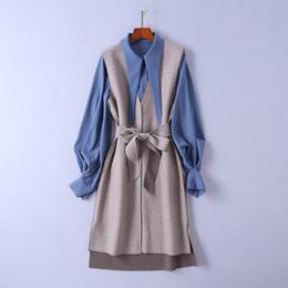 2018 Autumn Women'S Lantern Sleeve Shirt Blouse + Mid-Calf Dress Two-Piece Two Piece Twopiece 2 Pieces Set N16R3340