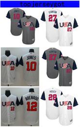 Wholesale Puerto Rico Jersey - 2017 World Baseball Classic Custom Team Jersey Men's USA Canada Dominican Republic Puerto Rico Mexico Venezuela Cuba Baseball jerseys
