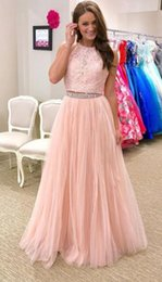Wholesale Girls Sexy Night Dress - Blush Lace Prom Dress Long 2018 Jewel Sheer Neck Tulle A line Sequins Beaded Sleeveless Girls Night Out Evening Dress
