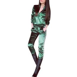 Argentina Venta caliente del otoño chándal de las mujeres sudadera verde púrpura + pantalones largos con cremallera trajes de ocio 2 piezas de ropa Suministro