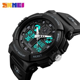 Wholesale Double Chronograph Watch Men - SKMEI Men Sports Watches Digital Double Time Chronograph Watch 50M Watwrproof Week Display Wristwatches Relogio Masculino 1270