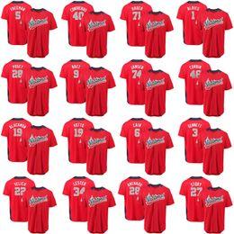 Wholesale polyester baseball shorts - 2018 All-Star Yelich Joey Votto Freeman Ozzie Albies Josh Hader Corbin Nolan Arenado Javier Baez Contreras Gennett Lester Story Jersey