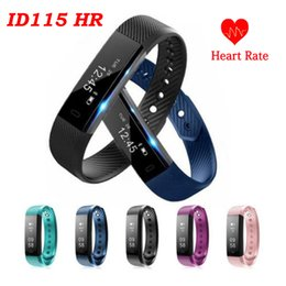Wholesale Alarm X - ID115 HR Smart Bracelet Fitness Heart Rate Tracker Step Counter Activity Monitor Band Alarm Clock Vibration Wristband for iphone 8 X samsung