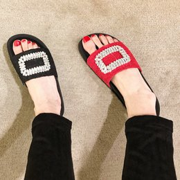 Wholesale Sandals Eva Platform - 2017 SUMMER NEW SS Womens Ladies black real leather red sex lace mesh Luxury crystal Rhinestones Embellished open toe flat Platform Sandals