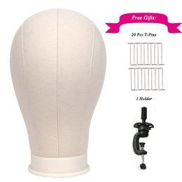 "Cabezas para pelucas online-1 pc 21 ""-25"" White Canvas Block Head para pelucas Display Styling Making Mannequin Manikin Peluca Stand Head con Free Holder y T-Pins"