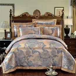 Wholesale Royal Blue Bedding - Golden Silver Color Stain Jacquard Luxury Bedding set King Queen size 4Pcs Wedding Royal Bed set Duvet cover Bedsheet decorative