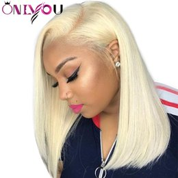 elastic lace wig Coupons - 130% Destiny # 613 Blonde Full Lace Human Hair Wigs full lace human hair wigs bob Straight Remy Hair Short Bob Wigs Pre plucked Hairline