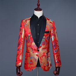 mostrar patrones de ropa Rebajas Comercio al por mayor 2018 flip-up estilo chino Red Dragon Printing Pattern traje de novio de la boda Chaqueta Delgado Etapa rendimiento ropa formal show