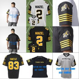 Wholesale newton s - 2018 New Style 2 Johnny Manziel Hamilton Tiger Cats Jersey Mens Womens Youth 100% Stitched Embroidery Logos CFL Football Jerseys