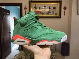 Wholesale Basketball Mike - (with Box) 2018 6 6s Gatorade Green Suede men Basketball Shoes Like Mike 6s Mens sports shoes sneaker high quality