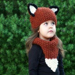 Ropa de panda de chicas lindas online-BEFORW Winter Baby Girls sombreros hechos a mano niños sombreros Wrap Panda bufanda gorras lindo otoño niños de lana de punto ropa de niña