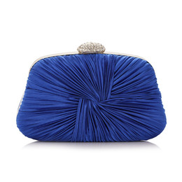 Wholesale Mix Color Handbag Shoulder Bag - TSGC Rhinestones Women Evening Bags Ruched Metal Day Clutches Handbags Mixed Color Fashion Lady Messenger Chain Shoulder Bag