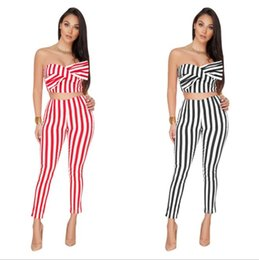 Wholesale womens piece tracksuits - women Bow Striped 2 Piece Set Jumpsuit Combinaison Femme Slim Off Shoulder Sleeveless Womens Jumpsuit Casual Tracksuit KKA5651