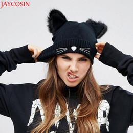 182aedc16f3 2017 Mode Femmes Baggy Chaud Crochet D hiver Laine Tricot Ski Beanie Crâne  Slouchy Cat Caps Chapeau ot30 m30