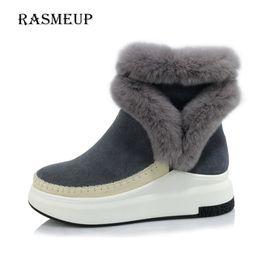 Wholesale Ladies Suede Platform Wedge Shoes - Female Footwear Lady Wedges Shoe Fashion Suede Leather Ankle Boots Women Winter New Fur Women's Warm Platform Snow Boots